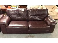 2x 2 leather brown seater sofa - £120