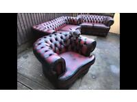 Chesterfield 3 Piece Genuine Leather Oxblood 3+2+1 Suite / Settee For Sale!