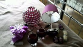 Purple lamp and candle bundle