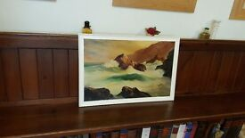 large vintage oil painting by J King