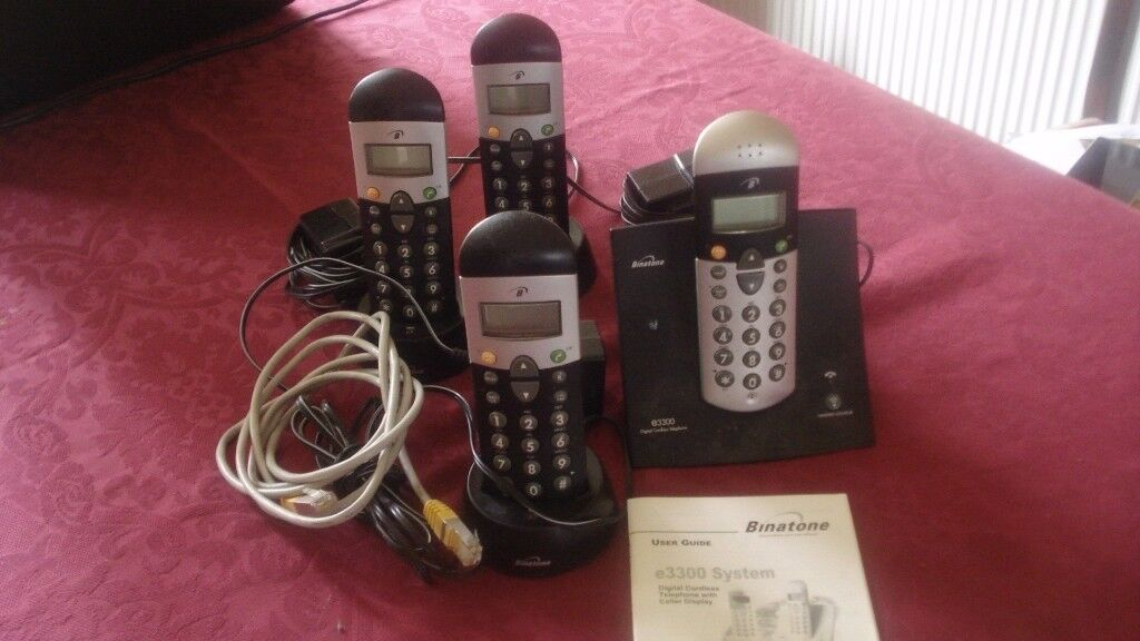 Binatone e3300 digital cordless phone with 4 handsets