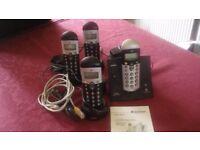 Binatone e3300 digital cordless phone with 4 handsets