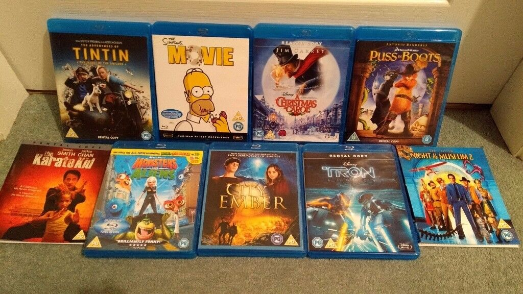 9 blurays - all child suitable (Tron Legacy, TinTin,Xmas Carol,Simpsons,City of ember,,,