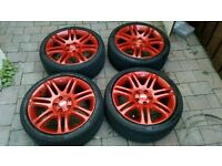 "18"" 5x112 red BBS alloys with good tyres"