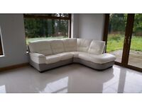 DFS rounded corner sofa and single circular chair white and grey