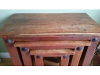 Solid hard wood nest of 3 tables, side tables, coffee tables