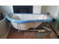 BRAND NEW & UNUSED White P shaped bath with side panel OFFERS WELCOME *collection only*