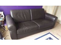 Brown leather sofa bed for sale - collection only *DISCOUNTED*