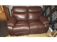 3+2 seater brown leather recliner