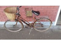 "Vintage Women's brown Raleigh Sports 3 speed 26"" bicycle"