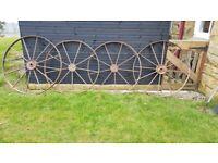2 x large cast iron cart wheels