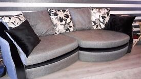 Grey and black fabric sofa