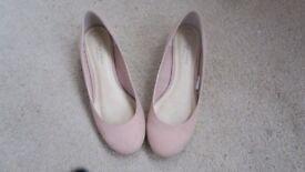 New Look Comfort Fit Shoes UK 4 EU 37 Pink Wedge Flats Ballerina Pumps Flat Shoes Small Heel