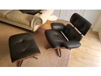 Eames style chair and ottoman 100% leather