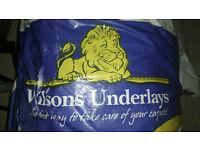 Wilson carpet underlay 2 rolls, Acoustic & Insulation,10mm Thick Wool Underlay