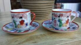 4 x PAIRS OF SMALL JAPANESE CUP & SAUCERS.