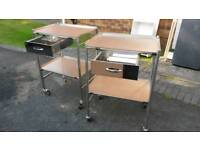 Medical, beauty, storage stainless steel trolley. £100 for both.