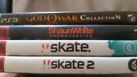 5 ps3 games skate 1, 2, Shaun White and God of war 1,2