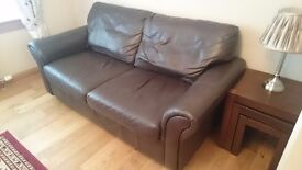 3 seater sofa couch, black /dark brown leather good a condition