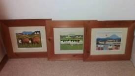 3 framed Thomas Joseph prints