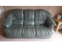 Green Leather - 3 Piece Sofa Suite + Armchair + Recliner Armchair