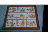 Children's Winnie the Pooh framed alphabet
