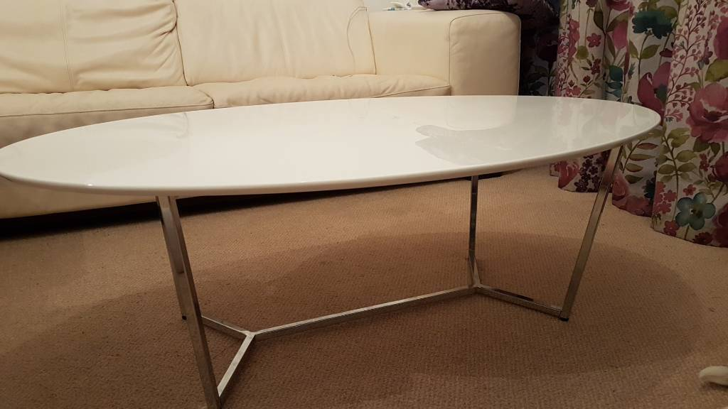 Retro Style Coffee Table High Gloss White