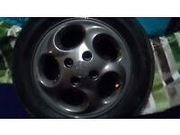 """Peugeot 14"""" Raptor Alloy Wheels - Gun Metal Grey - with tyres"""