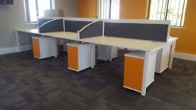 60 - CALL CENTRE BENCH DESKS-WHITE BRAND NEW TOPS 1400MM X 800MM SCREENS AVAILABLE ALSO
