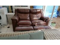 2 seater luxury leather reclining sofa
