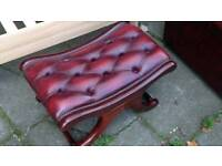 Chesterfield foot stool real leather ox blood