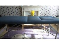 Folding Wooden massage table lined in blue leather 186 x 66 cm / 72.5 x 23.4