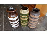 3 large vintage west german pots
