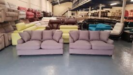 Ex-display Orson grey fabric pair of 2 seater sofas