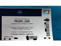 PEARL JAM STANDING TICKET 17th JULY
