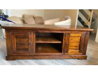 TV cabinet solid acacia wood with storage. Two available