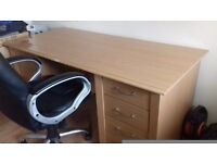 Large computer desk and chair with 5 drawers