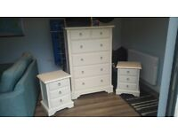 Ivory Bedroom furniture by Next (Chest of Drawers and 2 bedside cabinets)
