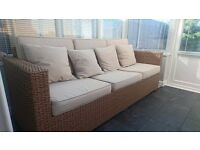 Rattan 3 seater sofa & armchair
