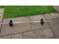 Yorkfitness cast iron spinlock barbell and dumbell set with weight plates