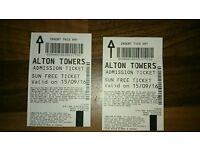 2 alton towers tickets
