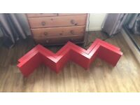 Large red shelves