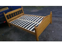 Pine Wooden Small Double Bed