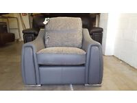 ScS SISI ITALIA VICTOR ARMCHAIR GREY LEATHER & FABRIC REVERSIBLE SEAT & BACK CUSHIONS