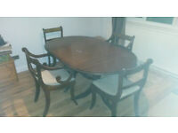 6 seater dining room table and six chairs