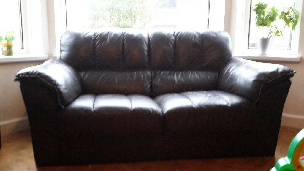 Dark Brown Real Leather Sofa Lovely Condition No Rips Or Tears