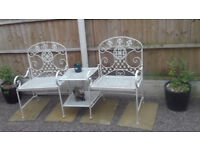 garden duo seat with 2 tier table in wrought iron,brand new in box unused,cost £149.
