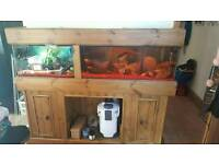 Solid handmade wooden double fish tank