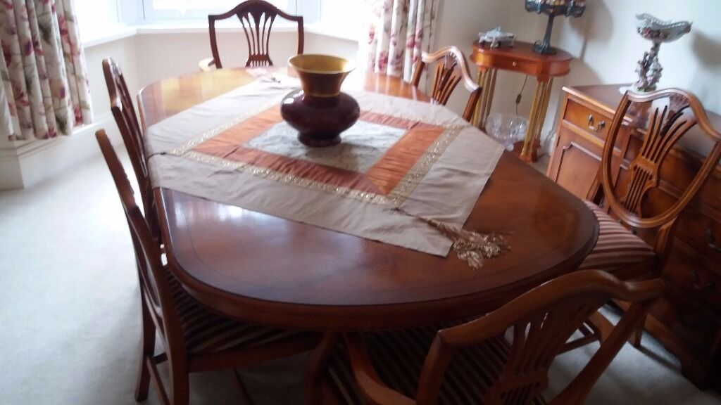 REDUCED PRICE Beautiful Solid Wood Yew Dining Table And 6 Chairs Fleur De Lys Design Plus