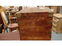 solid wood wine chest with brass corners